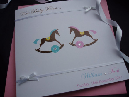 Cute Rocking Horse Twins or Triplets Card