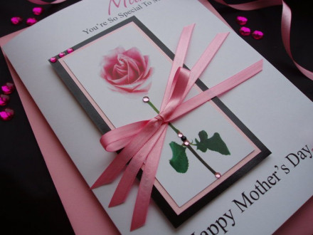 "Luxury Mother's Day Card ""Pink Rose"""