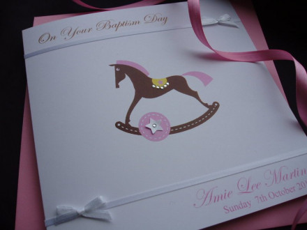 Christening Rocking Horse Card