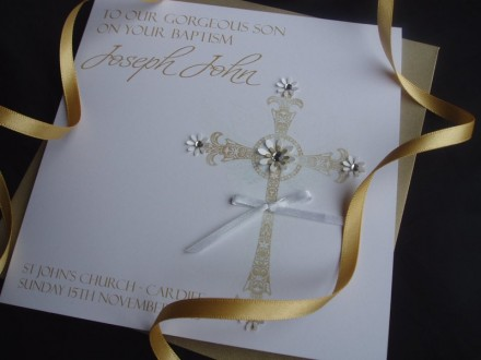 Onate Floral Christening Cross Card