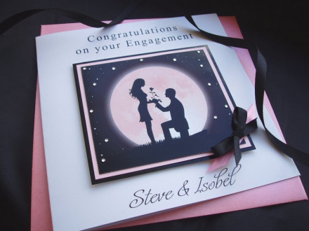 Handmade Engagement Card Moon