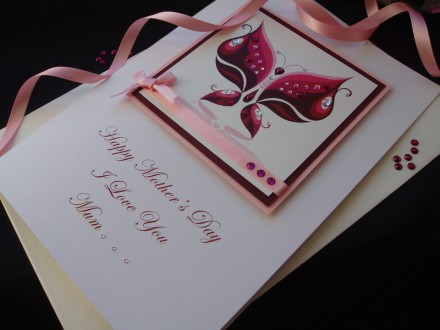 "Luxury Mother's Day Card ""Jeweled Butterfly"""