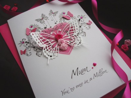 "Luxury Mother's Day Card ""Rosebud Butterfly"""