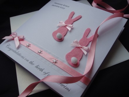 New Baby Twins Bunny Rabbits Card