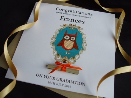 "Handmade Graduation Card ""Ornate Owl"""