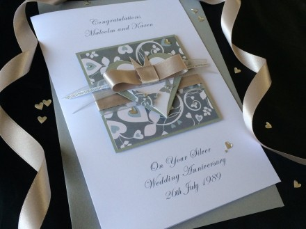 Luxury Silver Wedding Anniversary Card
