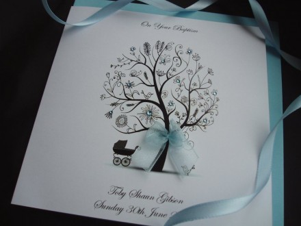 "Handmade Christening Card ""Tree with Pram"""