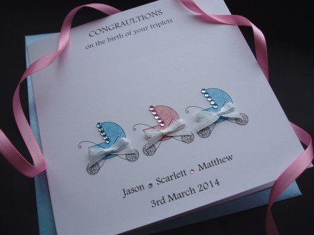 Pretty New Baby Pram Twins/Triplets Card