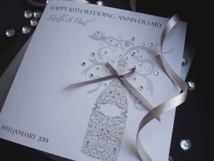 Ornate Wedding Anniversary Champagne Card