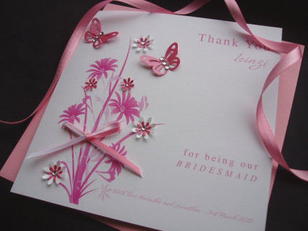 """Handmade Thank You Bridesmaid Card """"Flowers and Butterflies"""""""