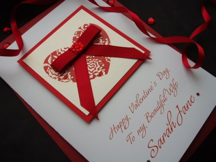 "Handmade Valentines Card ""Bowed Heart"""