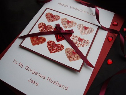 "Handmade Valentines Card ""Stylish Nine Hearts"""