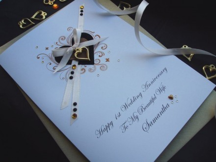 "Luxury Wedding Anniversary Card ""Suede Hearts"""