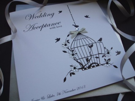 "Handmade Wedding Acceptance Card ""Bird Cage"""
