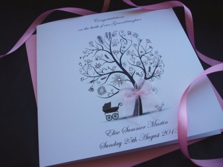 "Handmade New Baby Card ""Floral Tree with Pram"""