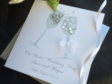 "Handmade Wedding Card ""Champagne Toast"""