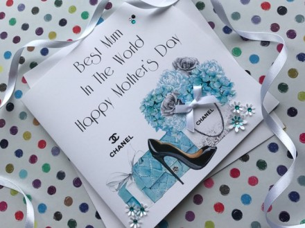 Handmade Mother's Day Card (Blue Chanel)