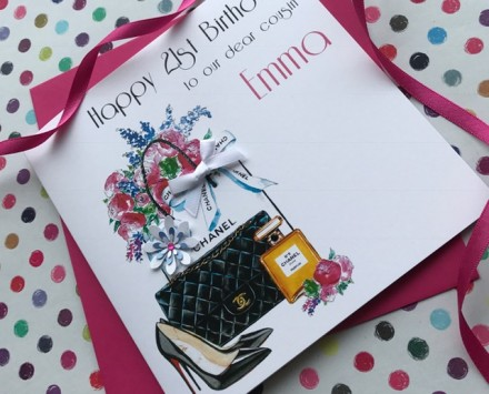 Handmade Birthday Card (Floral Chanel)