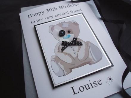 Luxury Button Eye Teddy Birthday Card