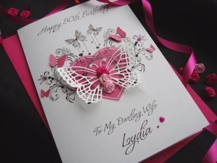 Gorgeous Luxury Butterfly Rosebud Birthday Card