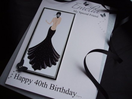 Luxury Stunning Black Dress Birthday Card