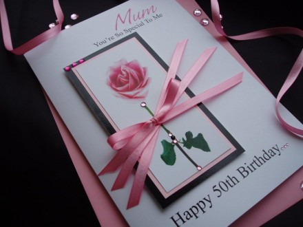 Stunning Pink Rose Birthday Card