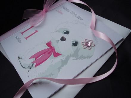 Cute White Dog Birthday Card