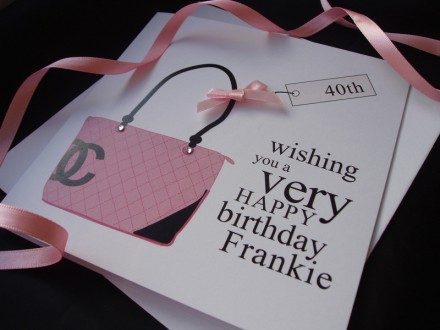 Pink Designer Birthday Card Bag