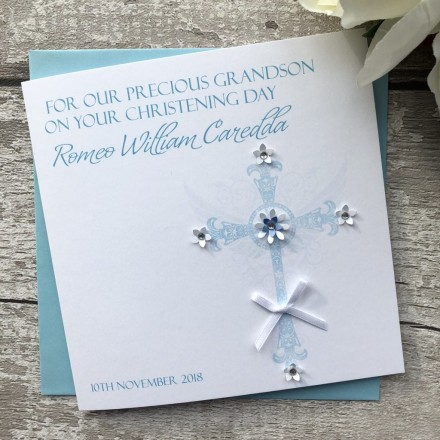 Handmade Christening Card 'Ornate Cross'