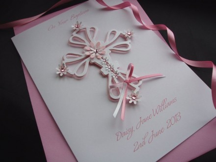 "Handmade Christening Card ""Ornate Floral Cross"""