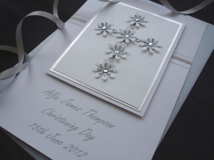 Luxury Floral Cross Christening Card