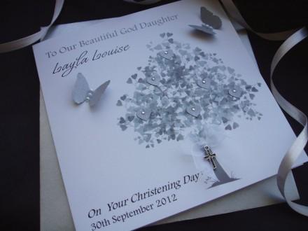 Elegant Christening Tree Card