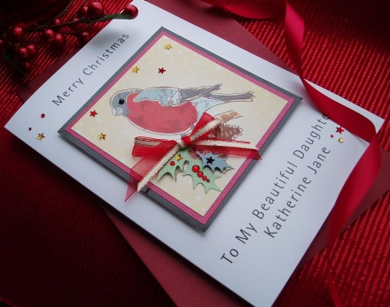 Handmade Christmas Card Festive Bird