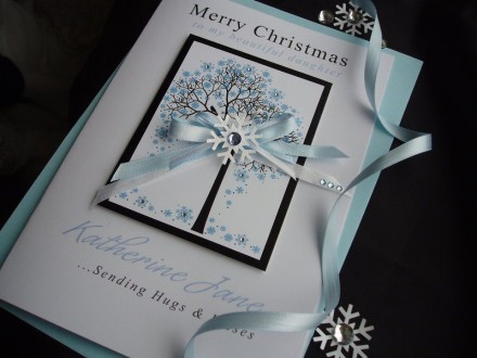 "Handmade Christmas Card ""Snowflake Tree"""