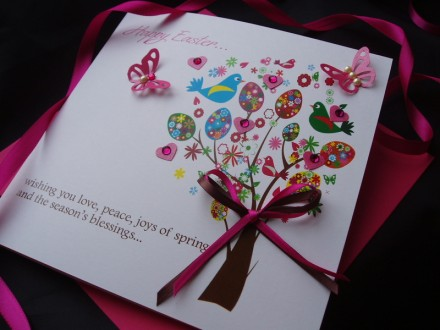 "Handmade Easter Card ""Easter Tree"""