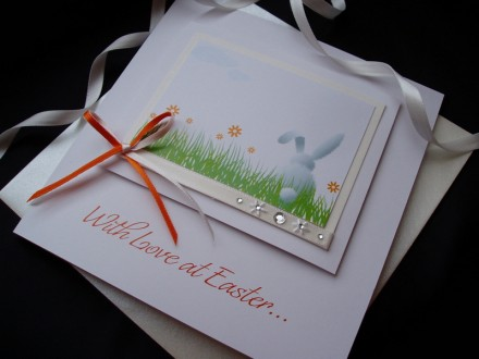 "Handmade Easter Card ""White Rabbit"""