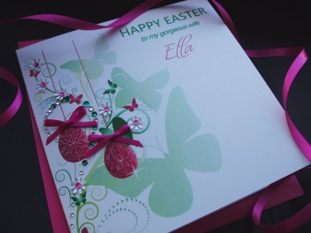 "Handmade Easter Card ""Hanging Eggs"""