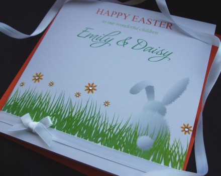 "Handmade Easter Card ""White Bunny"""