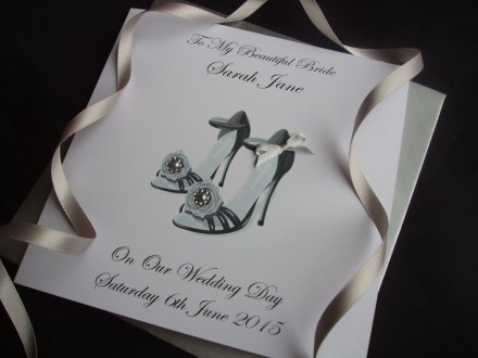 Beautiful Groom to Bride Wedding Shoes Card