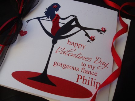 "Handmade Valentines Card ""Champagne Cocktail"""