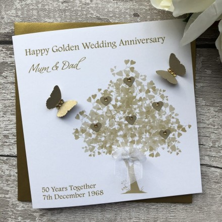 "Handmade Golden Wedding Anniversary Card ""Golden Tree"""