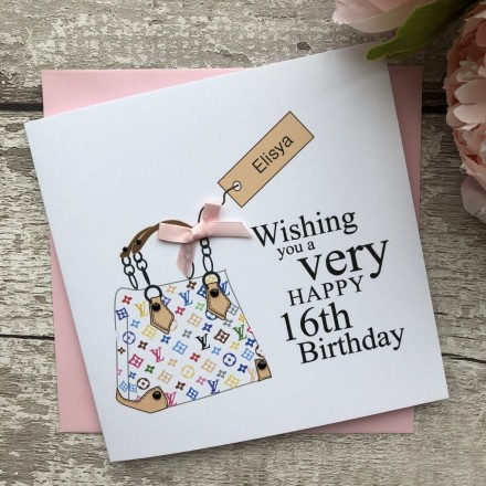 Personalised Handmade Birthday Card 'Hand Bag'