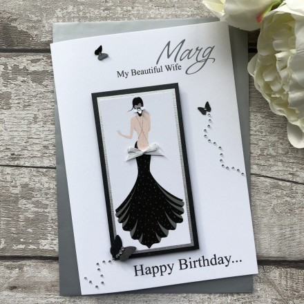 Luxury Handmade Birthday Card 'Black Dress'