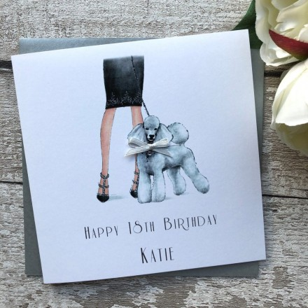 Handmade Birthday Card 'Poodle'