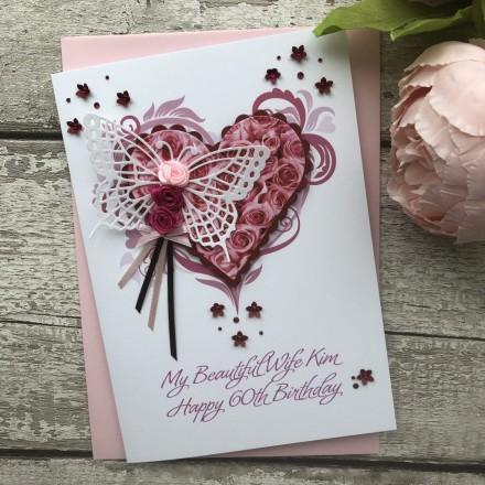 "Luxury Handmade Birthday Card ""Butterfly Rosebud"""