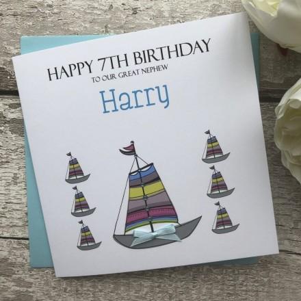 Handmade Birthday Card 'Sailing Boats'