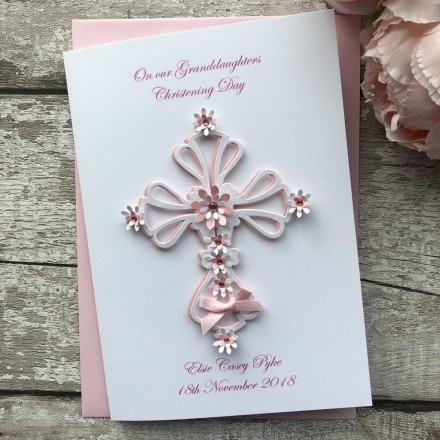 Handmade Christening Card 'Ornate Floral Cross'