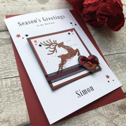 Handmade Christmas Card 'Damask Reindeer'