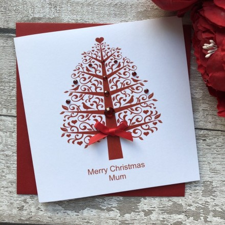 Admirable Handmade Christmas Card Tree Handmade Cards Pink Posh Funny Birthday Cards Online Alyptdamsfinfo