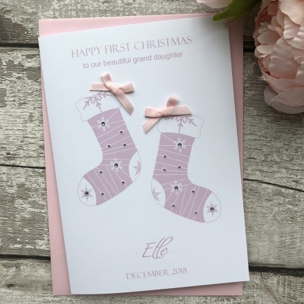 Handade Christmas Card 'Baby Stockings'
